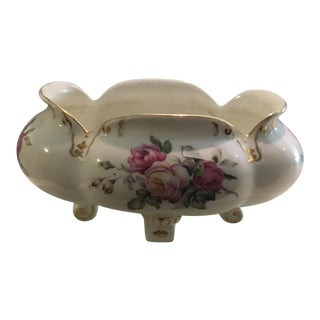 1930's Japanese Hand Painted Floral Pink & White Porcelain Bowl For Sale