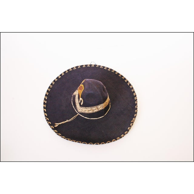 Early Mexican Navy Blue Embroidered Sombrero - Image 4 of 11