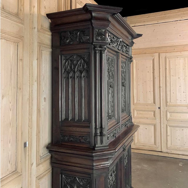 Mid 19th Century 19th Century French Gothic Buffet a Deux Corps ~ Cabinet For Sale - Image 5 of 13