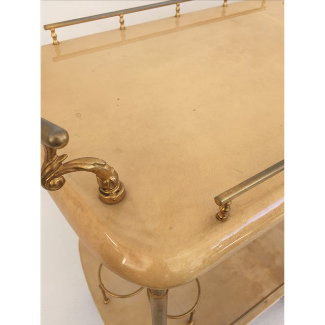 Tan Aldo Tura Parchment Bar Cart Drinks Trolley For Sale - Image 8 of 11