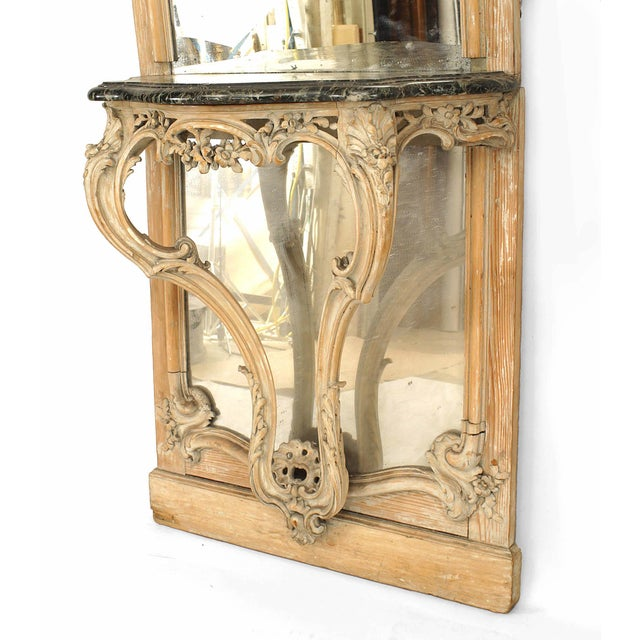 Glass French Louis XV Style '19th Century' Console Table and Mirror For Sale - Image 7 of 9