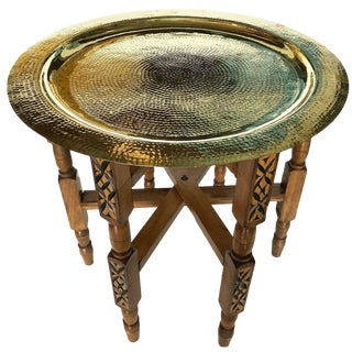 Moroccan Folding Brass Tea Table For Sale