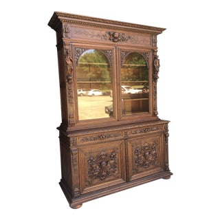 French Renaissance Oak Hand Carved Bookcase For Sale