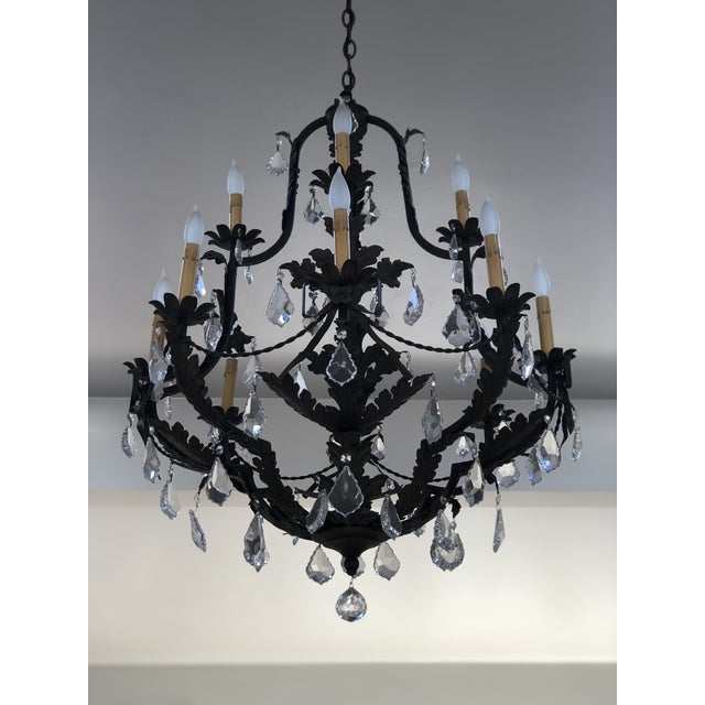 Custom12 arm wrought iron chandelier by Steven Handelman Studios This fixture will dazzle any room and would be perfect in...