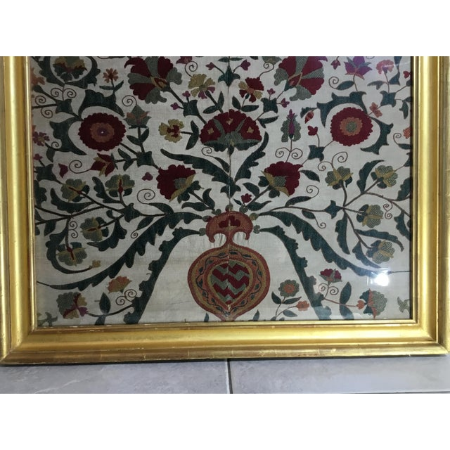 Hand Embroidery Silk Suzani Textile, Framed For Sale In Miami - Image 6 of 13