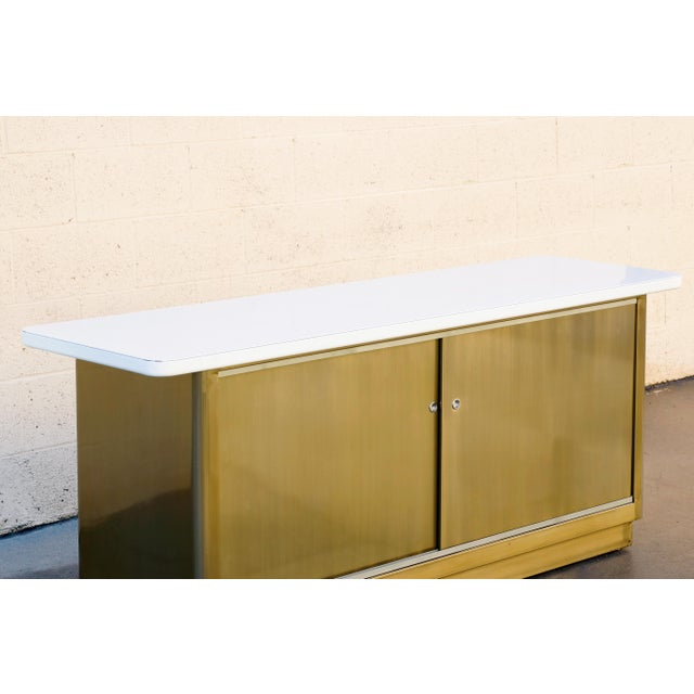 Cole Steel Custom Tanker Style Steel Credenza in Brass and White Finish For Sale - Image 4 of 7