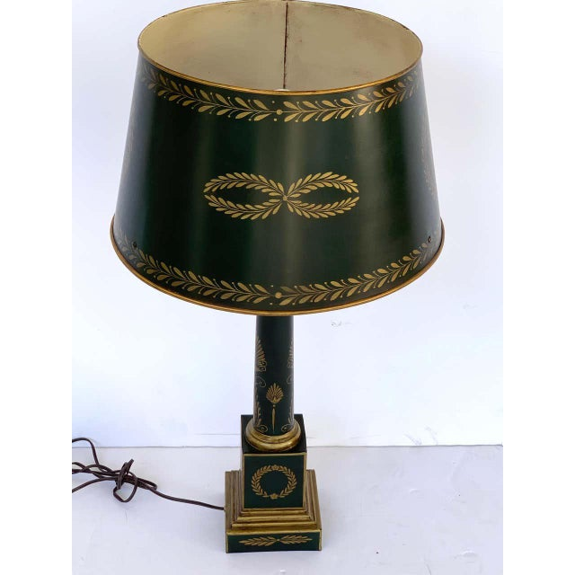 Empire Style Tole Lamps - a Pair For Sale - Image 4 of 11