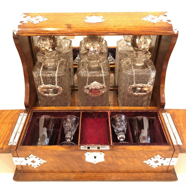 English Traditional Antique English Games Box Tantalus with Sheffield Silver Mounts, Circa 1880. For Sale - Image 3 of 5