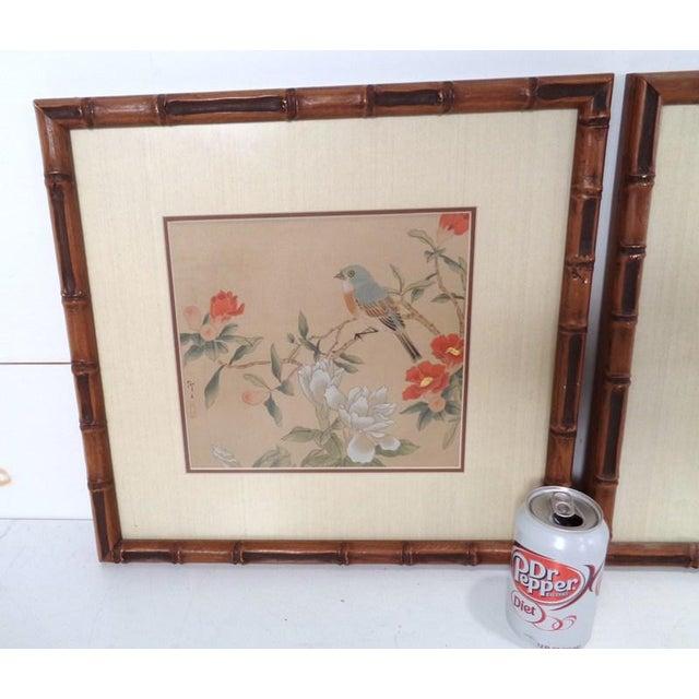 Asian Vintage Regency Japanese Silk Bird & Floral Prints- Set of 3 For Sale - Image 3 of 10