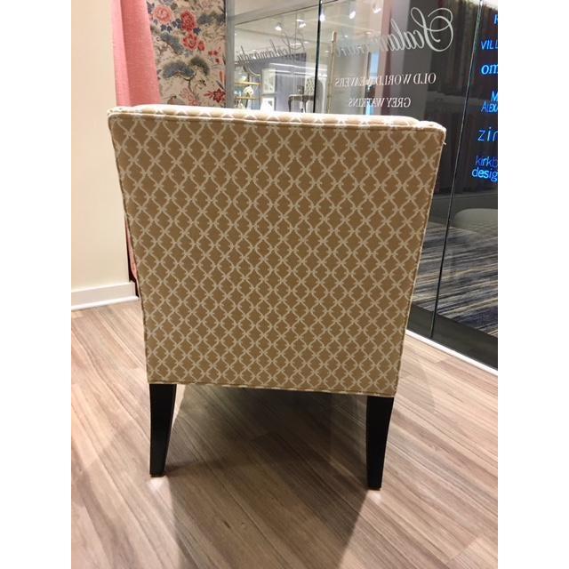 Contemporary Scalalmandre Trellis Weave Sand Upholstered Slipper Chair For Sale - Image 3 of 5