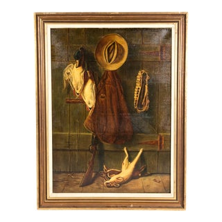 Early 20th Century Trompe l'Oeil Oil Painting With Wood Frame For Sale