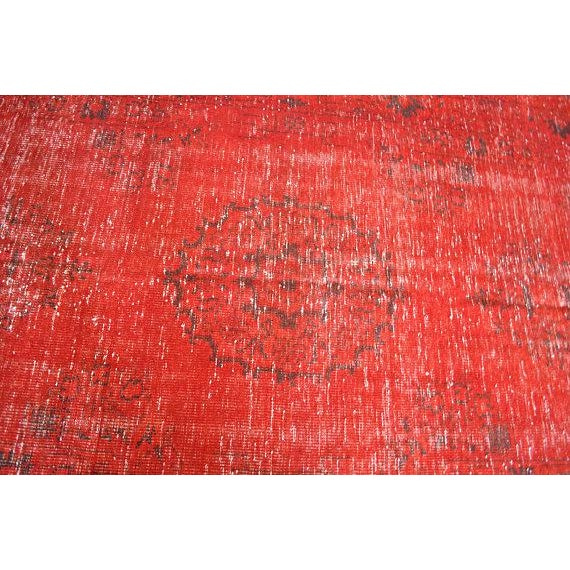 Asian Overdyed Red Turkish Area Carpet - 5′4″ × 9′3″ For Sale - Image 3 of 6