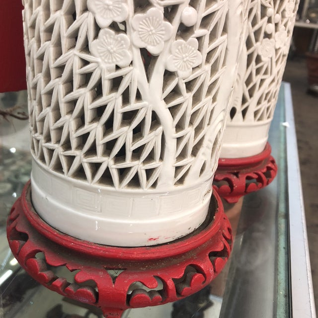 1930s Antique Porcelain Chinese Bamboo Silhouette Lanterns - A Pair For Sale - Image 10 of 13