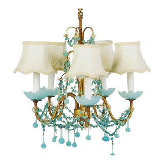 Blue Opaline Petite Chandelier with Shades For Sale