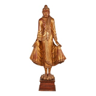 Very Large 19th Century Gold Thai Standing Buddha For Sale