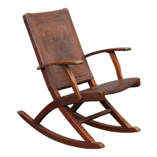 Thick Carved Leather Antique Walnut Rocking Chair For Sale