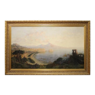 George Loring Brown 'Sunset, Bay of Naples' Oil on Canvas Landscape Painting For Sale