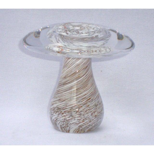 Murano Art Glass Brown White Swirl Mushroom - Image 2 of 11