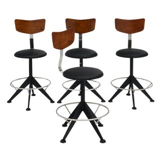 French Modernist Vintage Bar Stools - Set of 4 For Sale