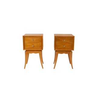 Pair of Nightstands by Suzanne Guiguichon, Wood, Circa 1970, France For Sale