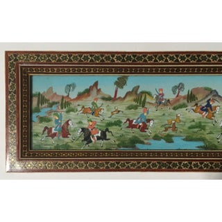 Vintage Persian Painting of Battle Scene in Marquetry Frame Preview