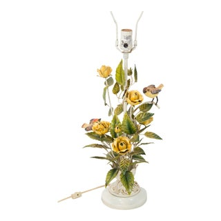 Italian Tole Yellow Roses and Birds Lamp For Sale