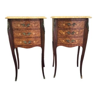 20th Century French Marble and Wood Side Tables - a Pair For Sale