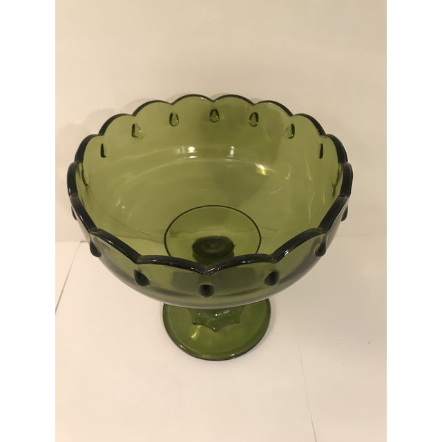 Vintage Olive Green Compote made by Indiana Glass Company. 4 Available. Design also available in amber and blue carnival...