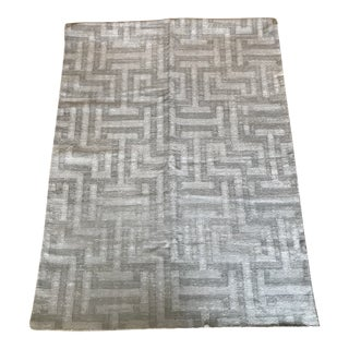 Indian Silver Grey Dhurrie Rug - 9′ × 12′
