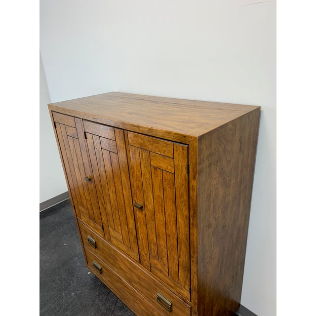 Gold Drexel Heritage Woodbriar Pecan Campaign Style Gentleman's Chest / Armoire For Sale - Image 8 of 13