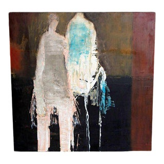 """Abstract & Figurative Oil on Board by Brigitte McReynolds, """"Couple in the Blue"""" For Sale"""