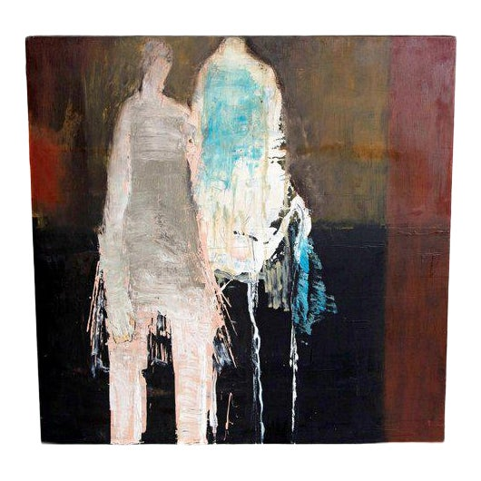 "Abstract & Figurative Oil on Board by Brigitte McReynolds, ""Couple in the Blue"" For Sale"