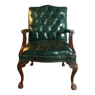 Century Furniture Tufted Green Ball & Claw Armchair For Sale