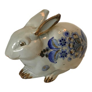 Large Vintage Mexican Pottery Rabbit Figurine For Sale