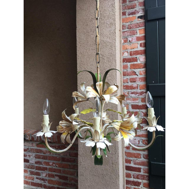 French Antique French Tole Flower Polychrome Metal Chandelier For Sale - Image 3 of 10