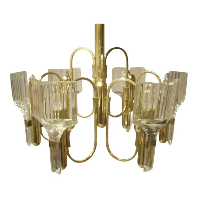 1960s Vintage Six-Light Glass and Brass Chandelier US Wired For Sale