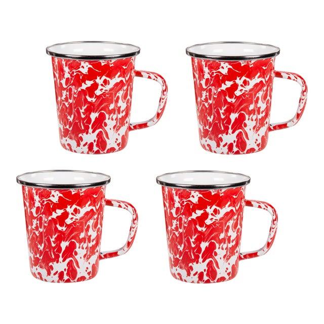 Latte Mugs Red Swirl - Set of 4 For Sale