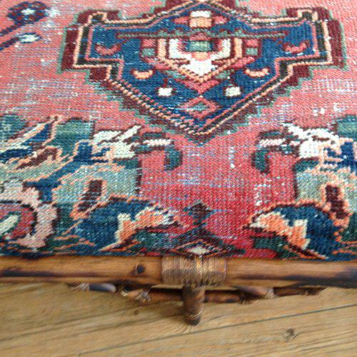 Vintage Boho Style Rattan & Persian Rug Bench For Sale - Image 5 of 10