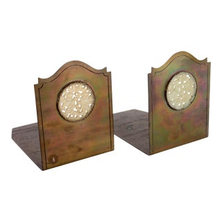 Potter Studio White Jade & Brass Antique Bookends - A Pair