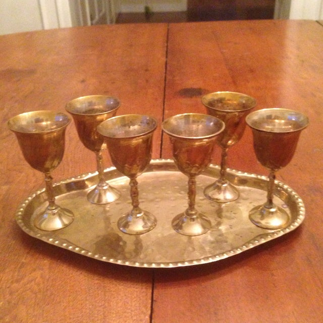 Vintage Brass Cordial Glasses and Tray - Set of 7 For Sale - Image 9 of 11