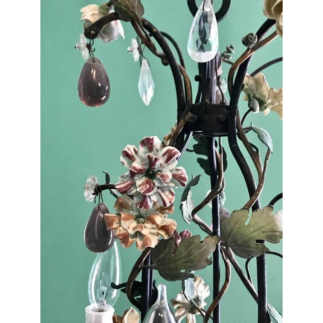 High end french tole chandelier with porcelain flowers mid 19th french tole chandelier with porcelain flowers mid 19th century image 2 of 7 mozeypictures Image collections