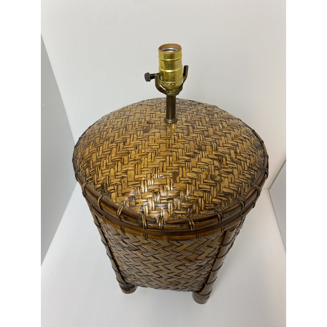 Vintage 1970s Woven Rattan Table Lamp For Sale - Image 4 of 7