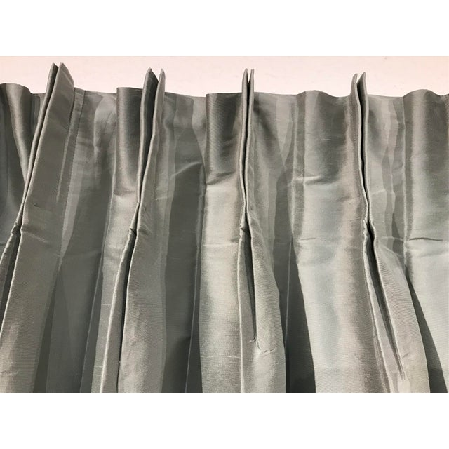 Restoration Hardware Fog Gray Pleated Thai Silk Drapery