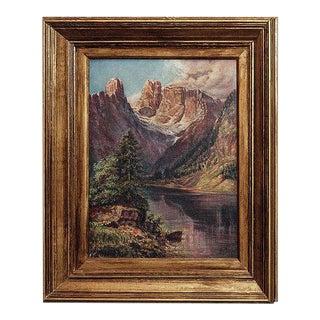 1927 Continental School Alpine Landscape Oil Painting, Framed For Sale