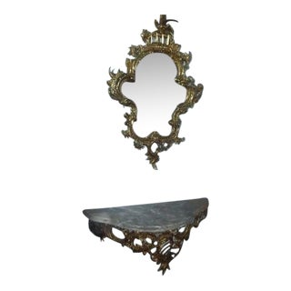 19th Century Rococo Revival Ornate Mirror & Marble Mantel - A Pair