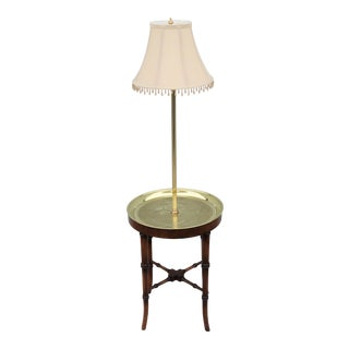 Vintage Regency Frederick Cooper Faux Bamboo Brass Tray Side Table Floor Lamp For Sale