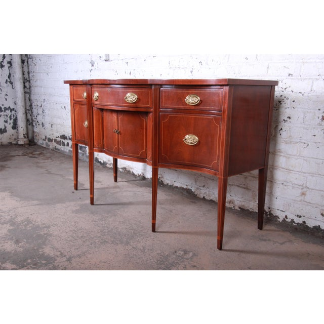 English Baker Furniture Hepplewhite Inlaid Mahogany Bow Front Sideboard Credenza For Sale - Image 3 of 13
