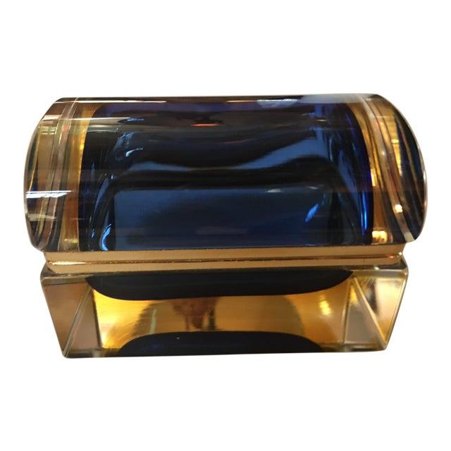 1960s Sommerso Murano Glass Jewelry Box For Sale