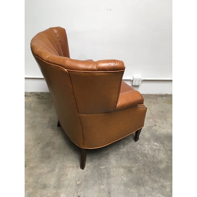 1940s Unique Channel Back Bucket Wing Chair For Sale - Image 9 of 13