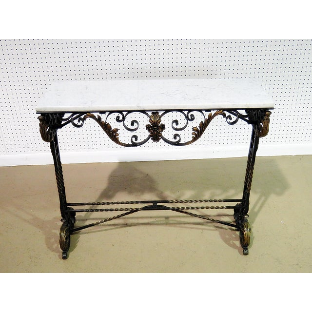 Mid 20th Century Wrought Iron Marble Top Console For Sale - Image 5 of 8